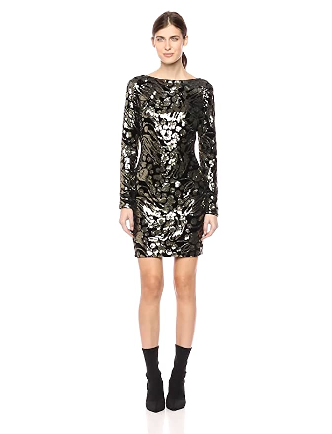 c3b3f0235045 Dress the Population Women's Lola Long Sleeve Sequin Dress at Amazon  Women's Clothing store: