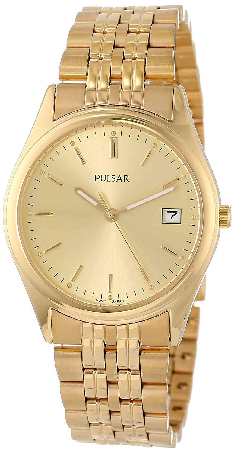 amazon com pulsar men s pxh450 dress gold tone watch watches