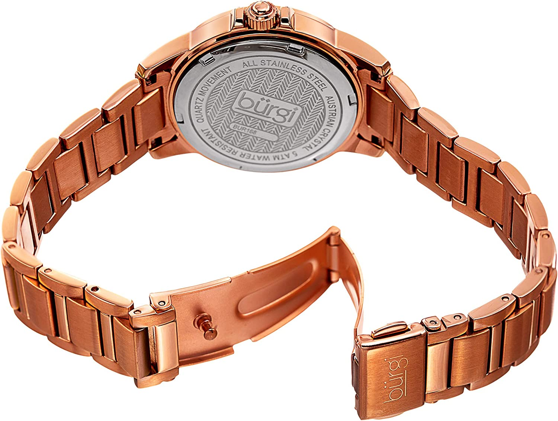 Burgi BUR168 CZ Studded Designer Women's Watch - Stainless Steel Bracelet Band, Cubic Zirconium Gemstone Bezel, Mother of Pearl Dial, Quartz Movement Rose Gold