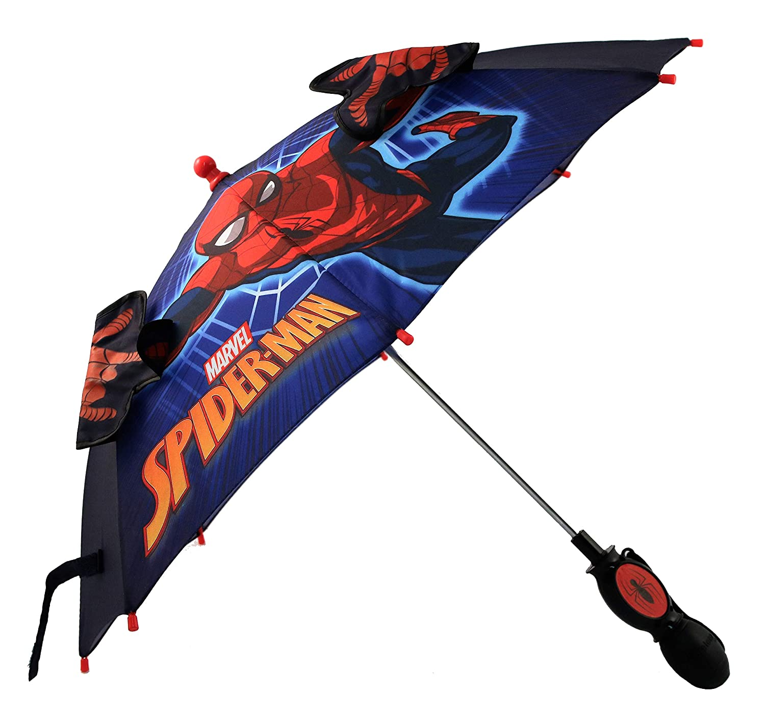 Marvel Little Boys Spiderman 'Squeeze and Flap' Fun Character Rainwear Umbrella, Ages 3-7
