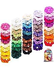 FAMINESS 50 Stück Samt Haargummis   50 Farben Elastische GummibänderHaarbänder Scrunchies   Pferdeschwanz Haarband Haaschmuck für Mädchen Frauen