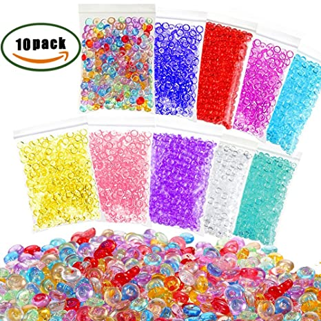 ManYee 10 Pack Perlas de Pecera para Slime,plástico pecera Slime perlas para la fabricación