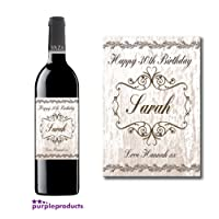 Personalised Shabby Chic Design 1 Birthday Wine Bottle label Gift, 18th, 21st, 30th, 40th, 50, 60th, 70th, 80th, 90th