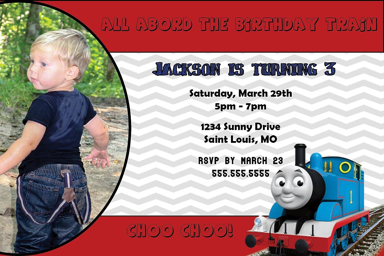 Amazon.com: Customized - Thomas The Train Birthday Party Invitation ...