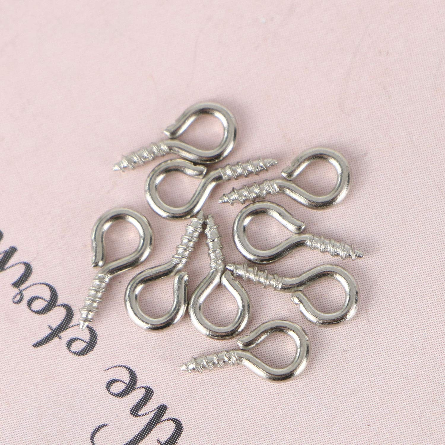 Metal Eye Hook Eye Shape Screw Hooks Self Tapping Screws Hooks Ring for Clay Jewelry Resin Bead Monrocco 1000Pcs Silver Tone Small Screw Eye Pins Eye pins Hooks