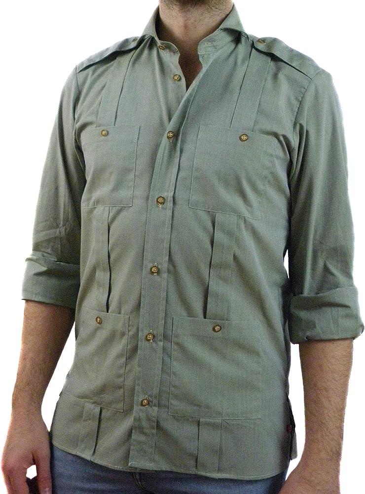 Camisa Guayabera Caballero Verde Trinchas (3XL): Amazon.es: Ropa y accesorios