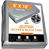 Heavy Duty Poly Tarp - 8' x 10' - 10 Mil Thick Waterproof, UV Blocking Protective Cover - Reversible Silver and Black - Lamin