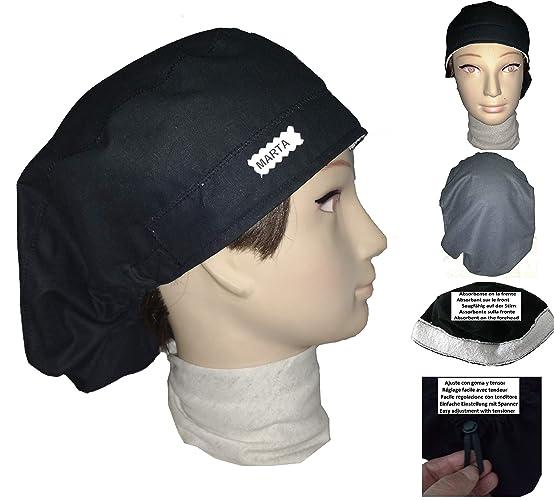 costruzione razionale diventa nuovo prezzo migliore Cappelli chirurgici personalizzati con nome. NERO per capelli lunghi. Con  frontale e tenditore assorbenti per una facile regolazione senza nodi