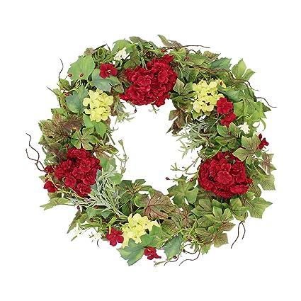 Belmont Silk Decorative Front Door Wreath 24 Inch   Year Round Beautiful  Silk Wreath Transforms Front