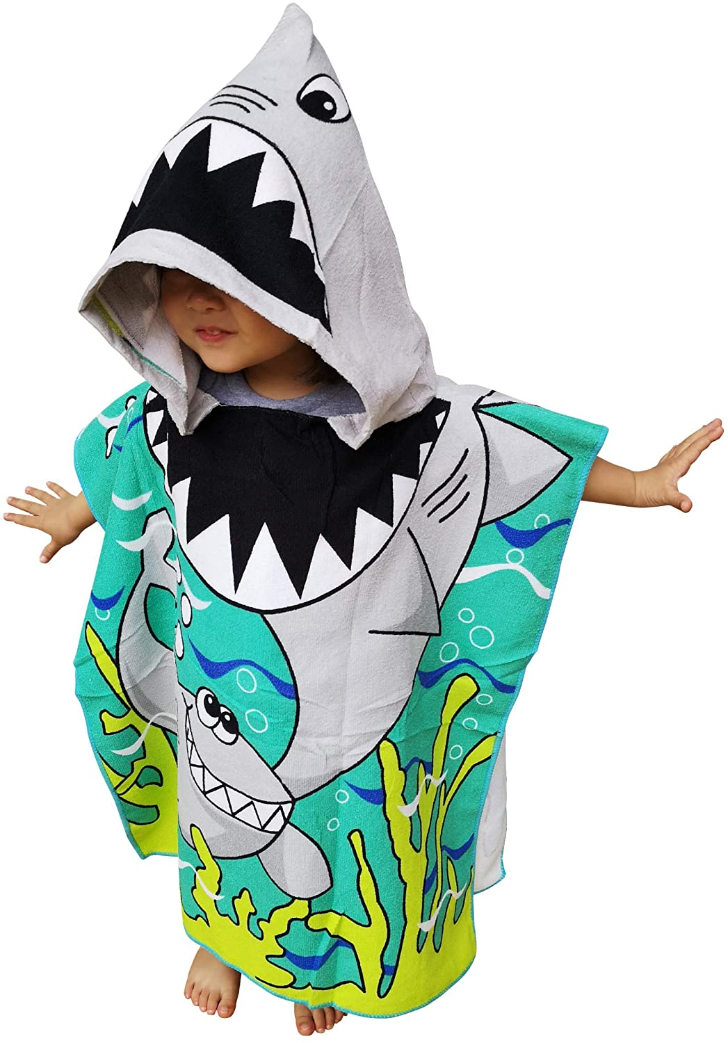 Athaelay Kids Hooded Poncho Towel with Bright Shark for Bath Pool Beach Times, Soft Quick Drying Microfiber