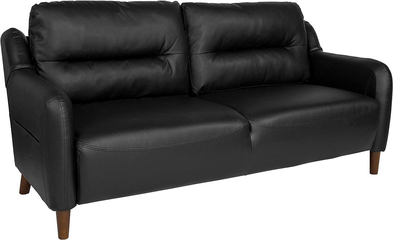 Flash Furniture Newton Hill Upholstered Bustle Back Sofa in Black LeatherSoft