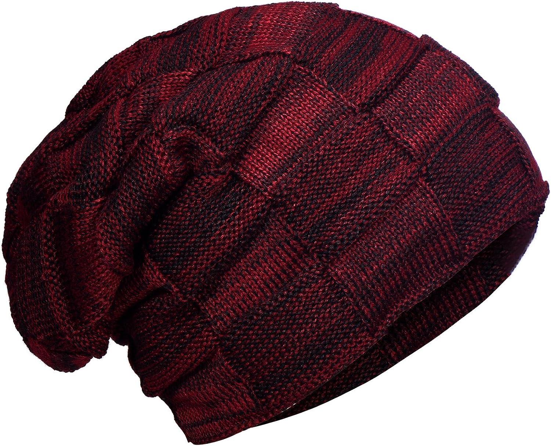 DonDon caldo Berretto Invernale Berretto Uomo lavorato a Maglia Beanie Slouch Style moderno e con extra imbottitura interna