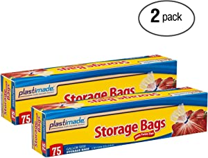Plastimade Disposable Plastic Storage Bags With Original Twist Tie, 1 Gallon Size, 150 Bags, Great For Home, Office, Vacation, Traveling, Sandwich, Fruits, Nuts, Cake, Cookies, Or Any Snacks (2 Packs)