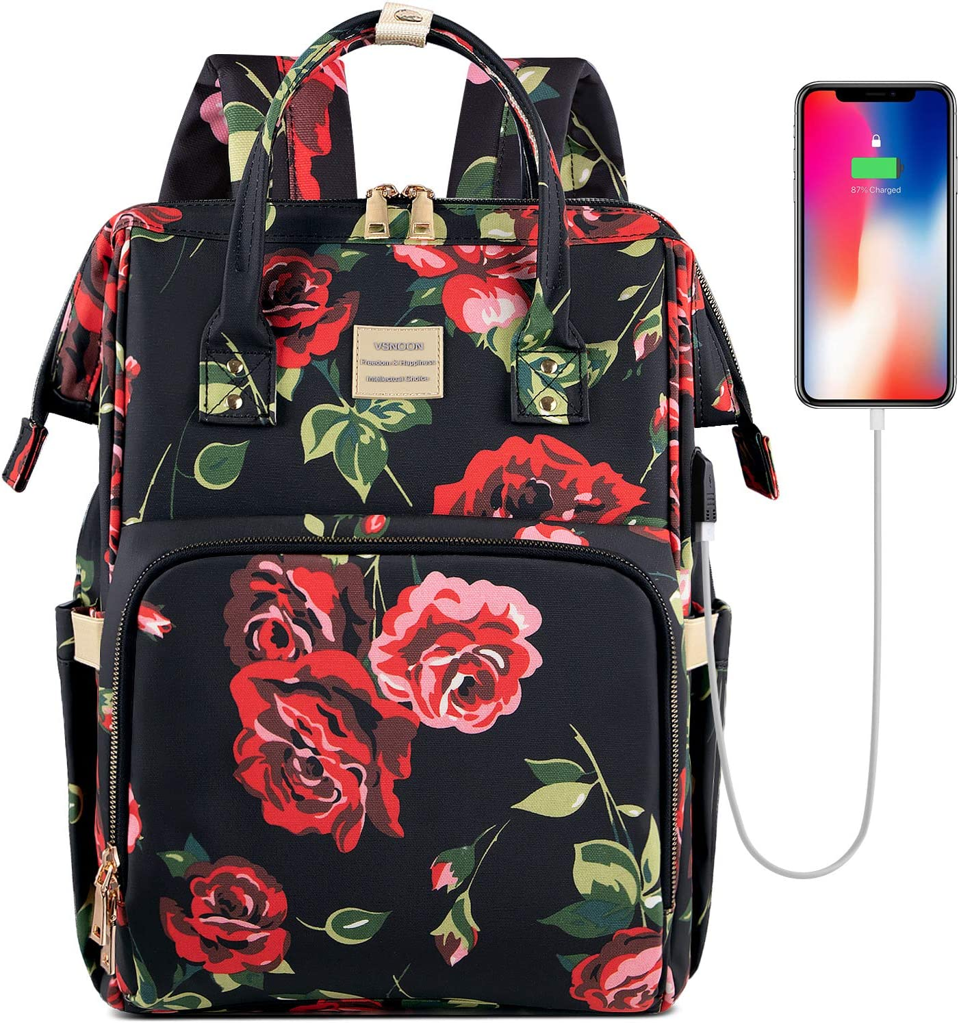 Laptop Backpack,15.6 Inch Stylish College School Backpack with USB Charging Port,Water Resistant Casual Daypack Laptop Backpack for Women/Girls/Business/Travel (Flower3)