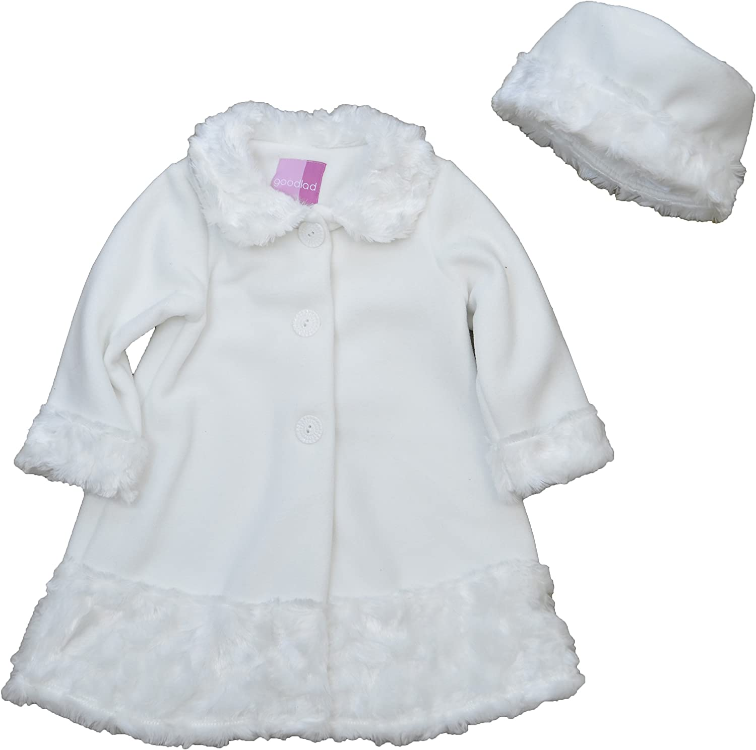 Good Lad Newborn//Infant Girls Creme Fleece Coat with Floral Embroidery and Matching Hat