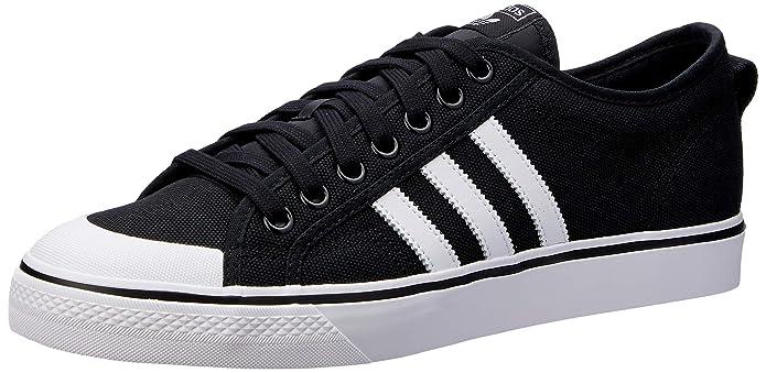 adidas Herren Nizza Sneaker Schwarz mit weißen Streifen