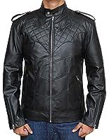 Decrum Mens Bomber Leather Biker Jackets - Distressed Vintage Black and Brown Coat and Jackets