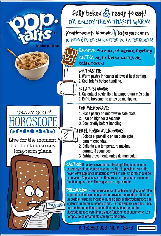 Kelloggs Pop Tarts Relleno de Pepitas de Chocolate, Galleta Cookie y Glaseado - 8 Unidades: Amazon.es: Alimentación y bebidas