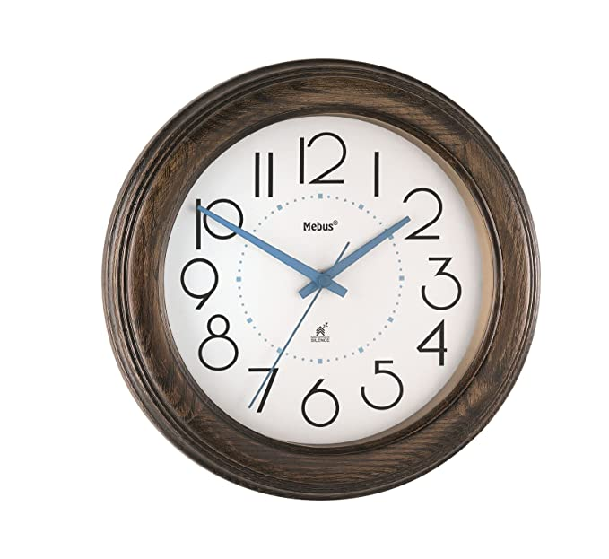 De madera maciza de analógico reloj de pared radiocontrolado Mebus colour 52692