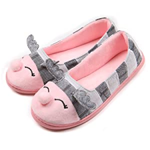 ChicNChic Women Cute Ballerina Slippers Cotton Flat Casual Indoor House Shoes Grey 8B(M)US