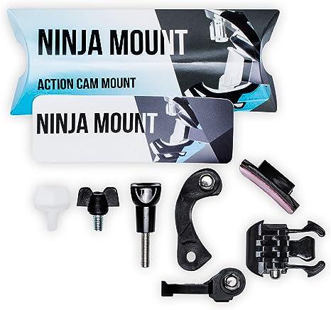 Garmin /& Rollei Big Pack Ninja Mount Fabricado en Alemania Compatible con Cascos GoPro Negro Soporte para c/ámara de acci/ón Montura Especial para Cascos Downhill//ATV//Motocross con Visera
