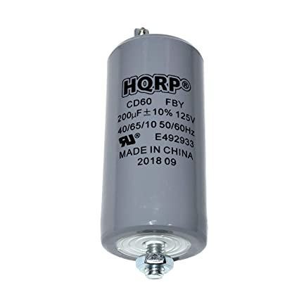 amazon com: hqrp 200uf 125v run capacitor works with ac electric motor  start hvac blower compressor pump 200mfd cd60 plus hqrp coaster: home  improvement
