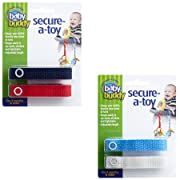 Baby Buddy Secure-A-Toy, Safety Strap Secures Toys, Teether, or Pacifiers to Strollers, Highchairs, Car Seats—Adjustable Length to Keep Toys Sanitary Clean Blue/White/Navy/Red 4 Count