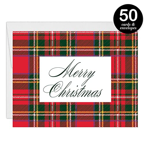 Amazon classic plaid christmas cards envelopes set of 50 classic plaid christmas cards envelopes set of 50 traditional red tartan folded happy reheart Images