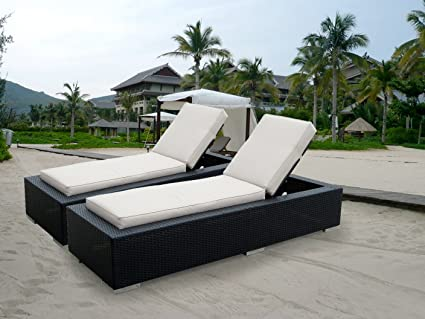Incroyable Ohana 2 Piece Outdoor Patio Furniture Chaise Lounge Set, Black Wicker With  Beige Cushions