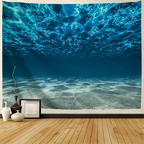 BJHAP Ocean Tapestry Wall Hanging 90 x 60, Tropical Deep Sea Underwater with Pebbly Sandy Mixed Bottom Surface and Sun Beams Coming from Surface Wall Tapestry for Bedroom Living Room College Dorm