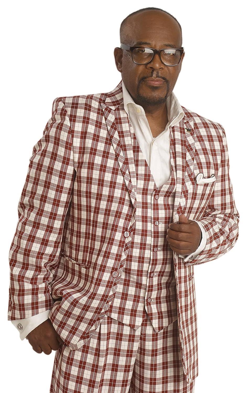 Victorian Mens Suits & Coats E.J. Samuel Rust White Bold Plaid 3 Piece Fashion Mens Suit M2655 $114.99 AT vintagedancer.com