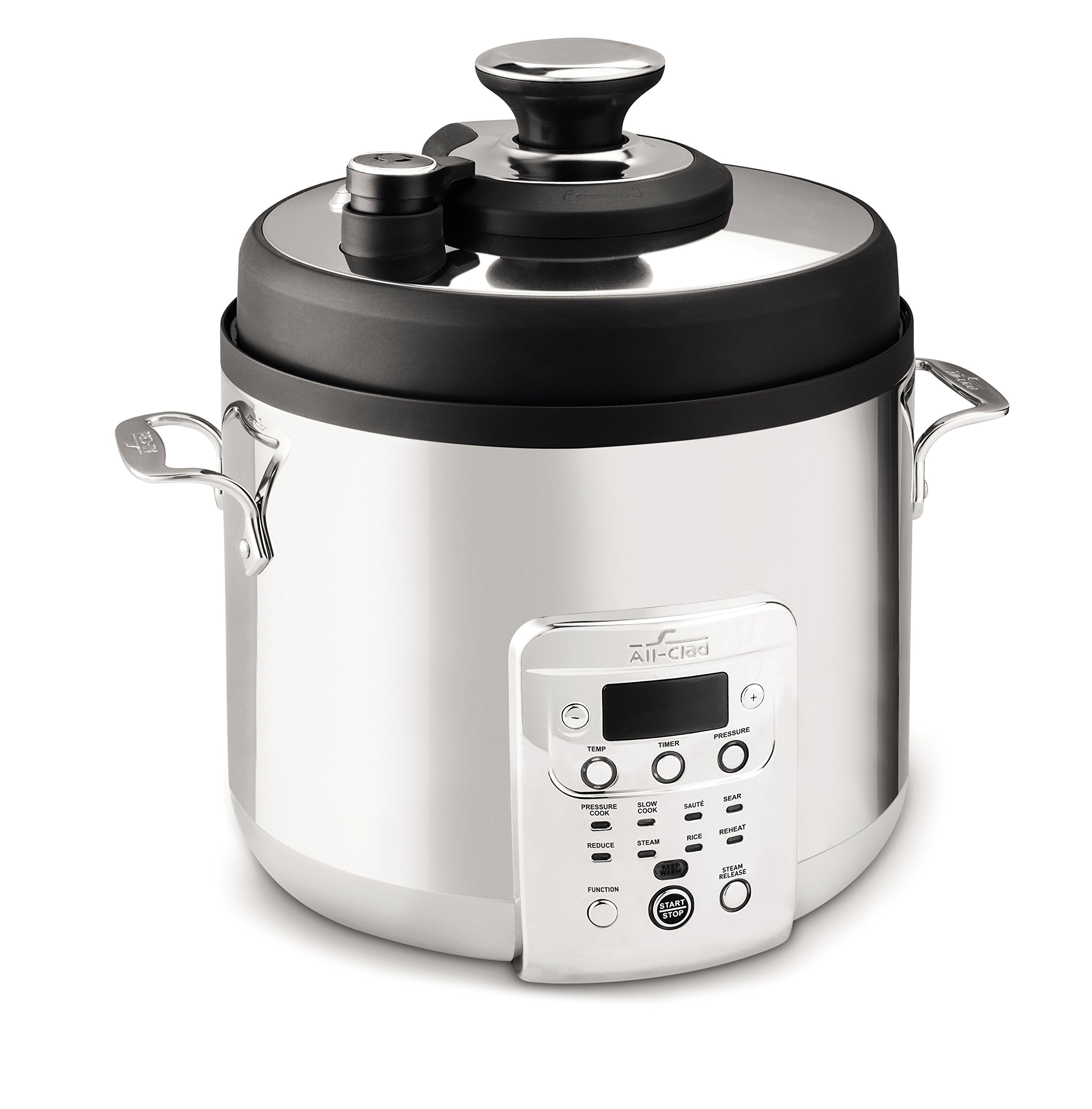 All-Clad CZ720051 Electric Pressure Cooker with Dishwasher safe Nonstick Ceramic Pot and 8 pre-set cooking modes, 6-Quart, Silver