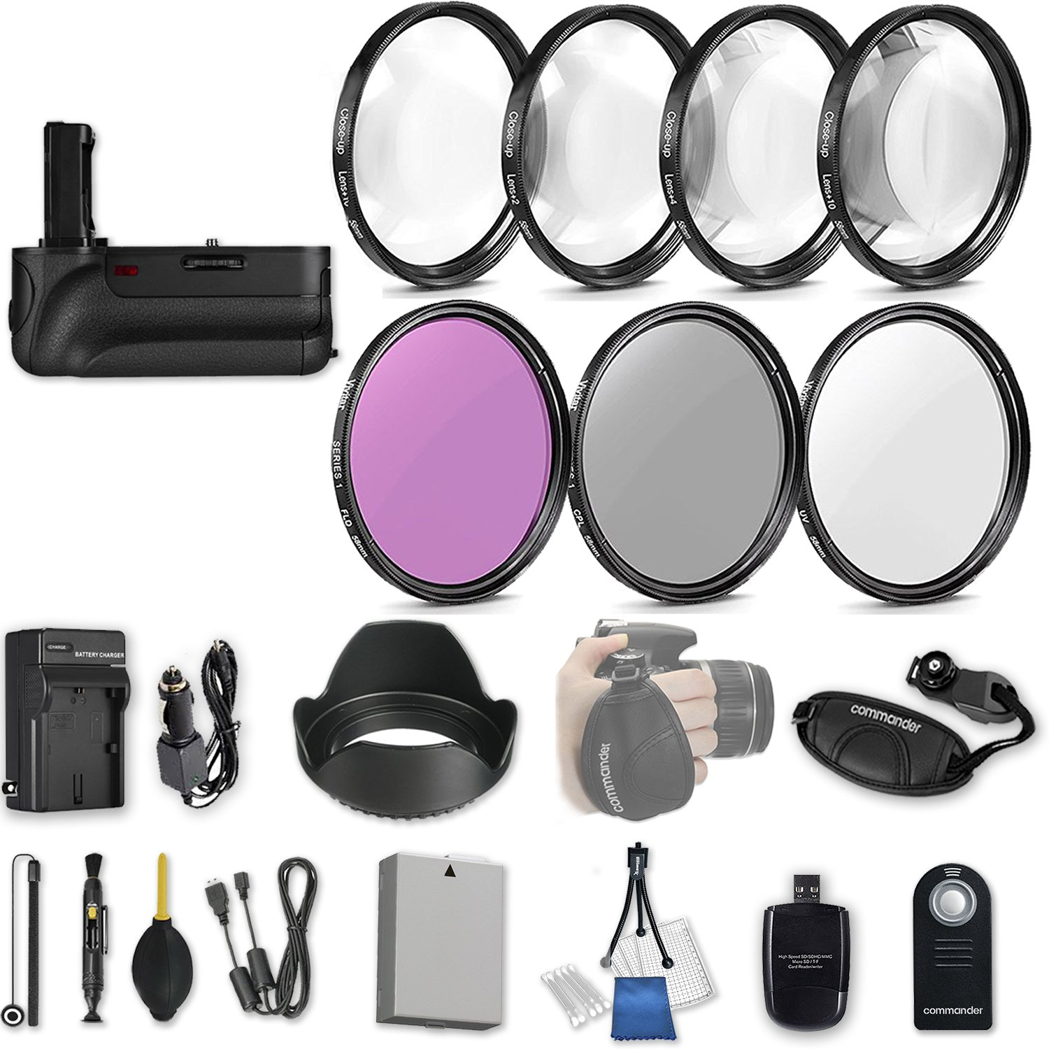 58mm 21 Pc Accessory Kit for Canon EOS Rebel T3i, T5i, 300D, 700D DSLRs with Battery Grip, UV CPL FLD Filters, & 4 Piece Macro Close-Up Set, Battery, and More by 33rd Street