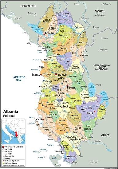 Cartina Albania Fisica.Albania Mappa Politica Carta Plastificata A1 Size 59 4 X 84 1 Cm Amazon It Cancelleria E Prodotti Per Ufficio