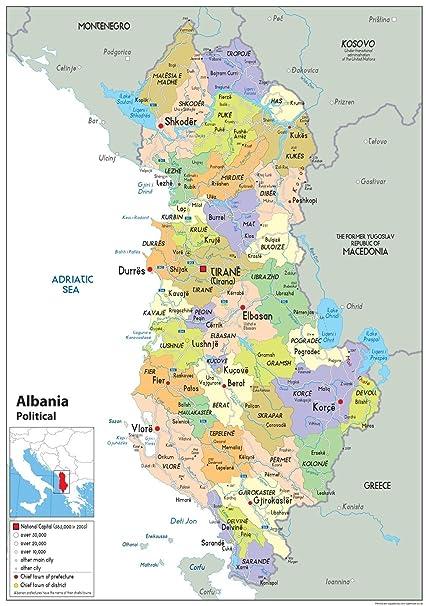Cartina Di Albania.Albania Mappa Politica Carta Plastificata A1 Size 59 4 X 84 1 Cm