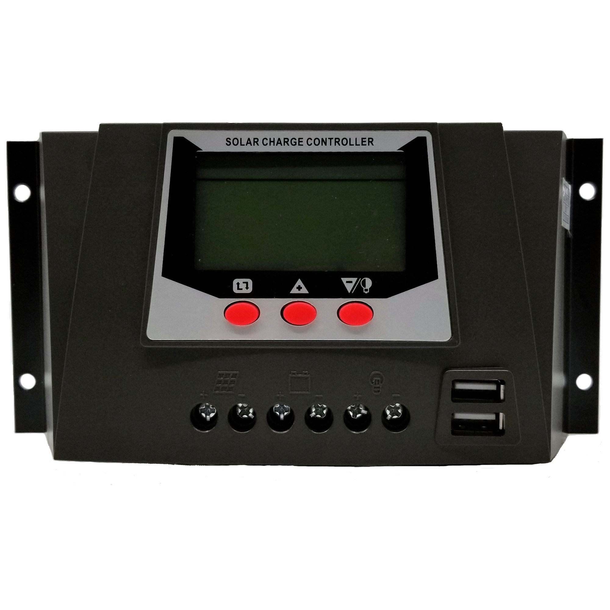 30A Solar Charge Controller 12V 24V Auto 50V PV Input PWM Regulators Support Lithium Battery Charger with Dual USB 5V Output Backlight LCD Monitor with Temperature Compensation