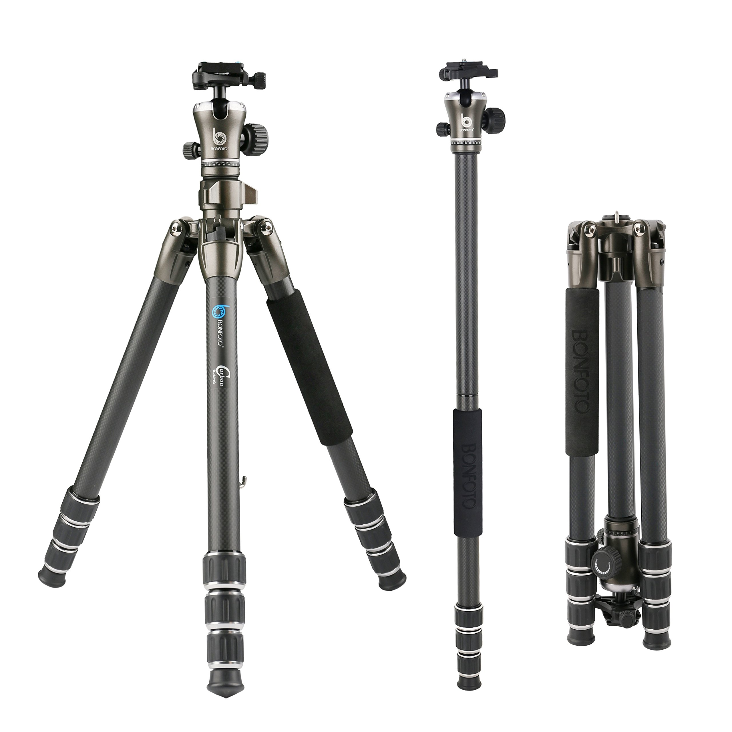 BONFOTO B671C Carbon Fiber Lightweight Portable Camera Travel Tripod With Ball Head, Two Levels And Carrying Bag For DSLR, Bronze Grey by BONFOTO