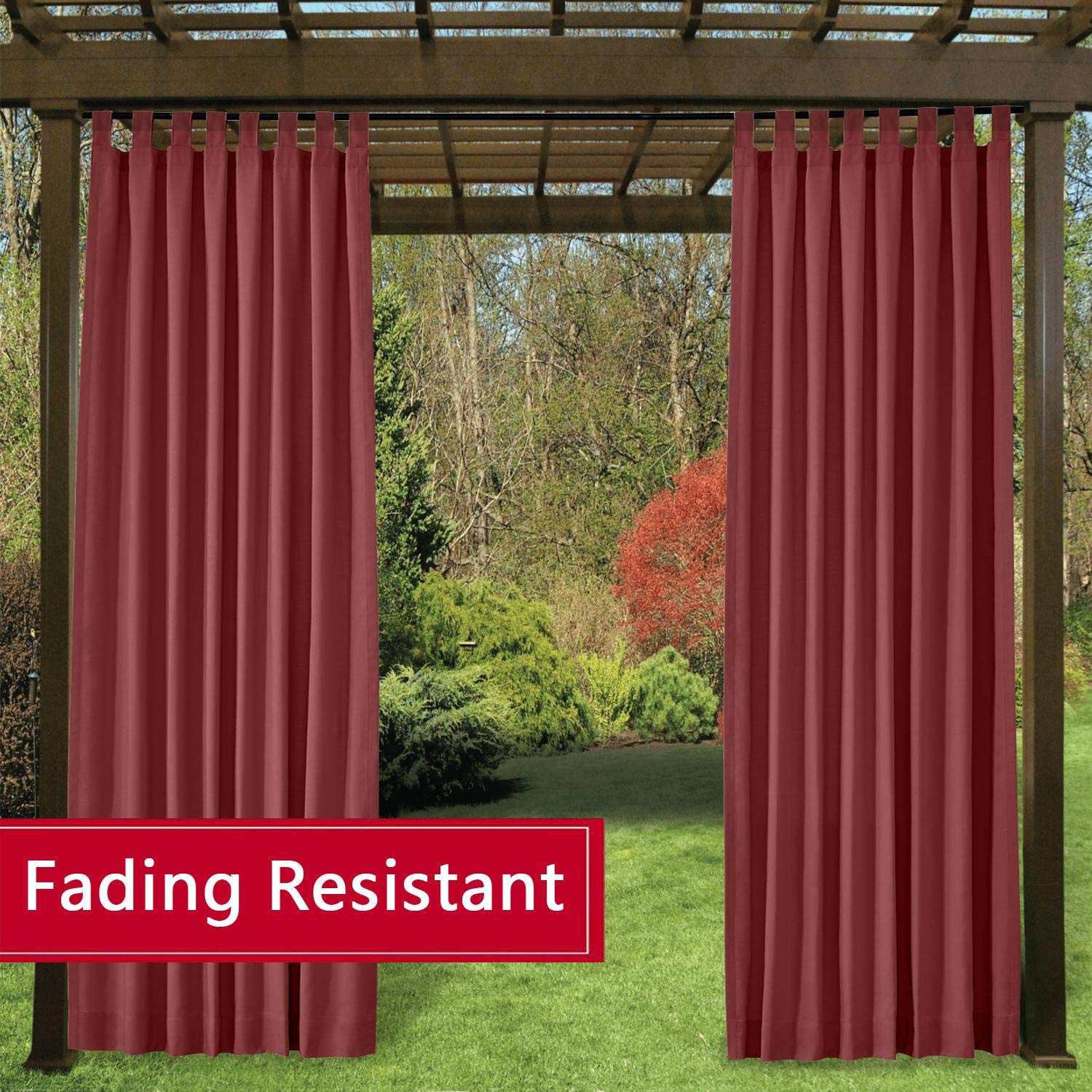 TWOPAGES Burgundy Outdoor Curtains Waterproof Tab Top Curtains for Front Porch Fade Resistant Curtains (72 Inch Width by 84 Inch Long, 1 Panel)