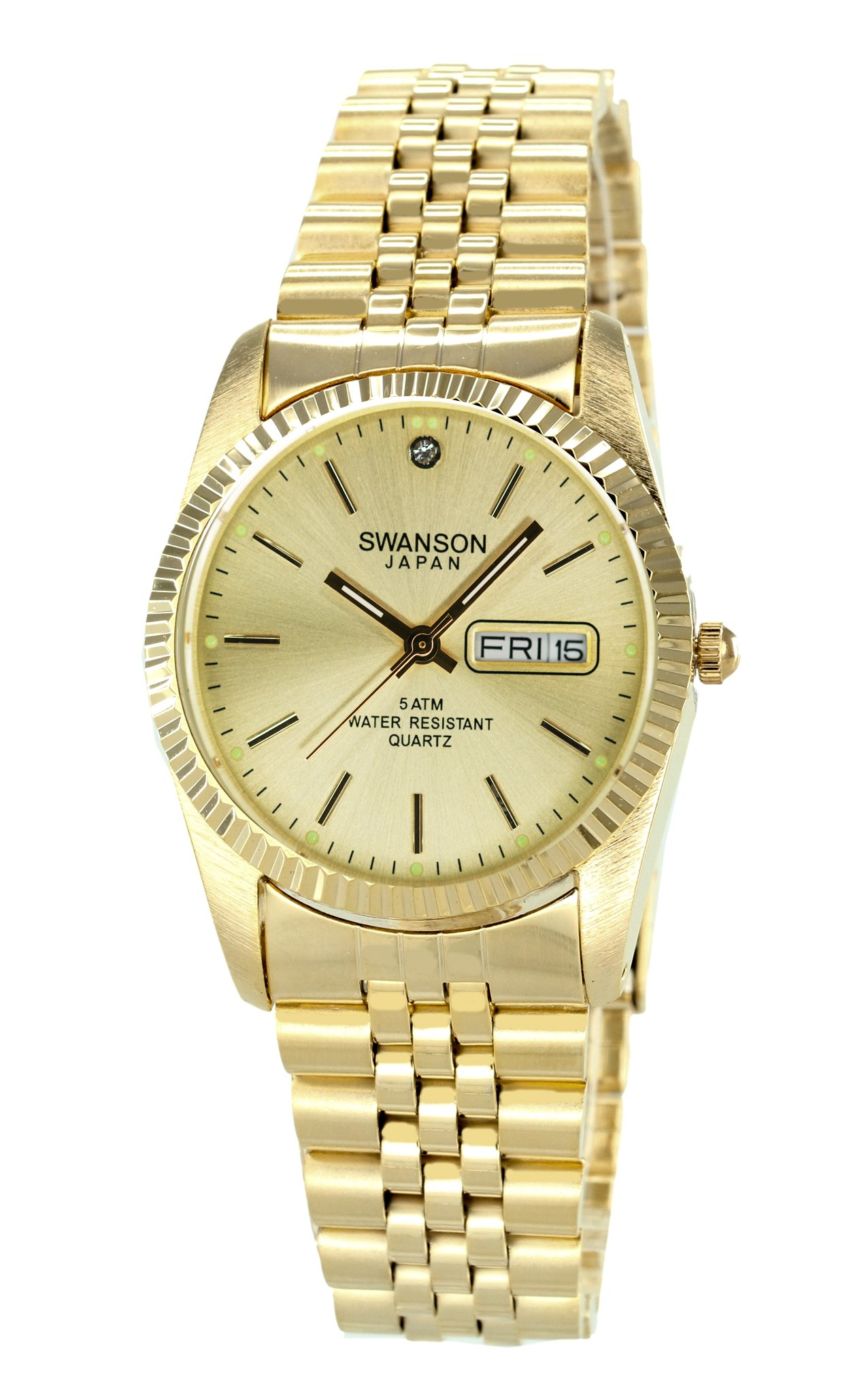 Swanson Men's Gold Day-Date Watch Gold Dial with Travel Case