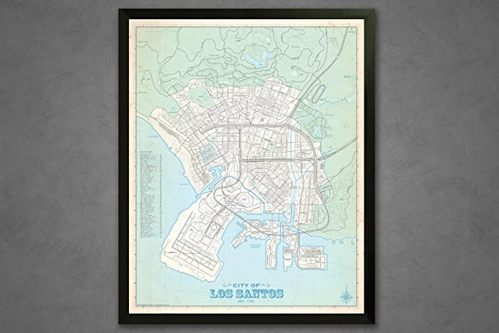 amazon com los santos city vintage plat map 16x20 poster handmade