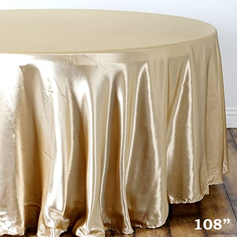 BalsaCircle 108 Inch Champagne Round Satin Tablecloth Table Cover Linens  For Wedding Party Catering Kitchen