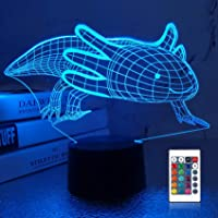 Lampeez 3D Axolotl Lamp Night Light Mexican Salamander Fish 3D Illusion lamp for Kids, 16 Colors Changing with Remote…