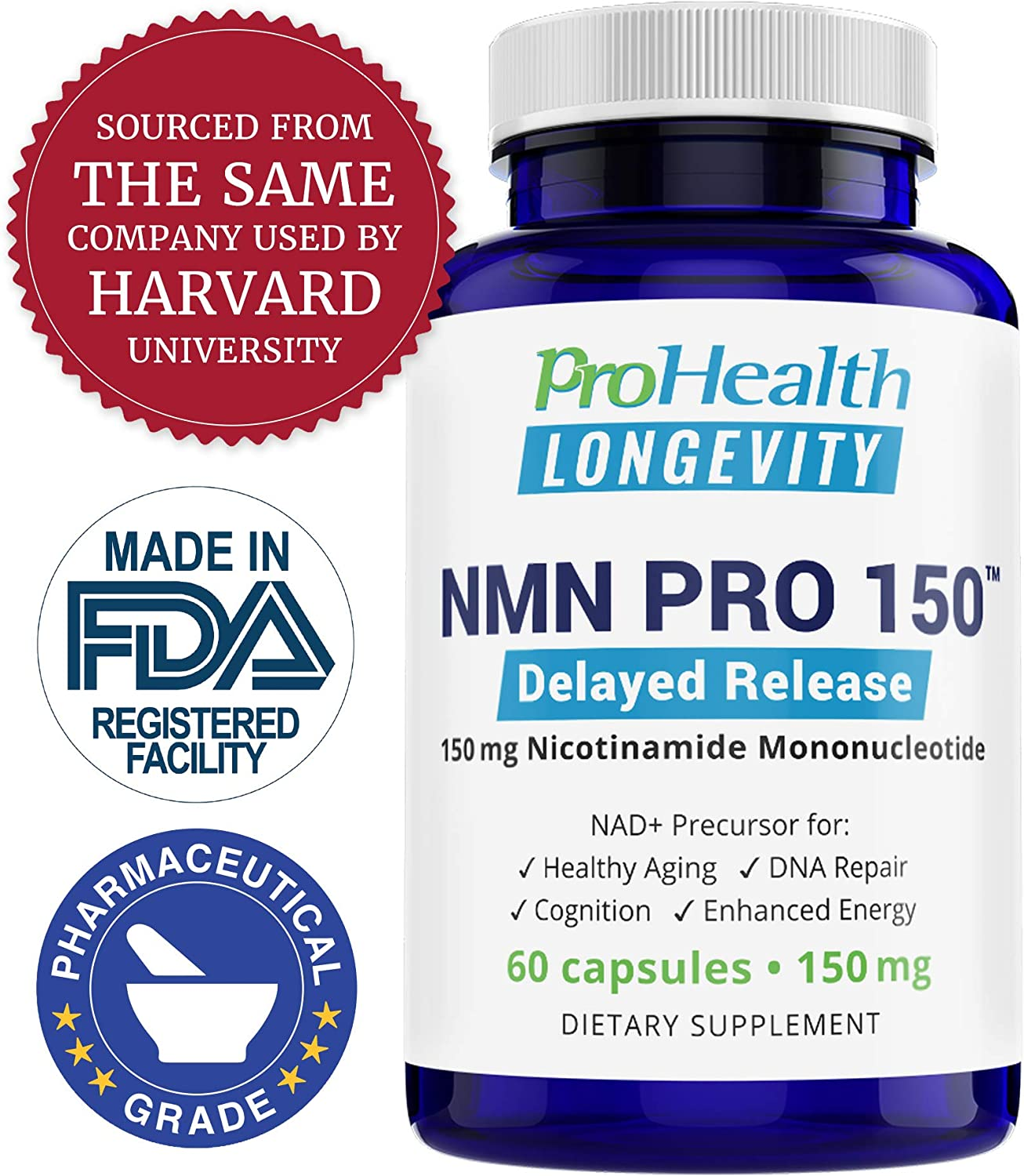 ProHealth NMN Pro Delayed Release 150 mg, 60 Capsules Nicotinamide Mononucleotide NAD Precursor Supports Anti-Aging, Longevity and Energy Non-GMO