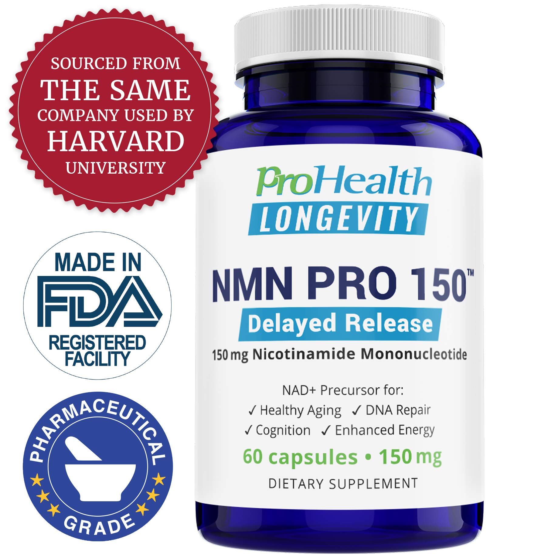 ProHealth NMN Pro Delayed Release (150 mg, 60 Capsules) Nicotinamide Mononucleotide | NAD+ Precursor | Supports Anti-Aging, Longevity and Energy | Non-GMO by ProHealth