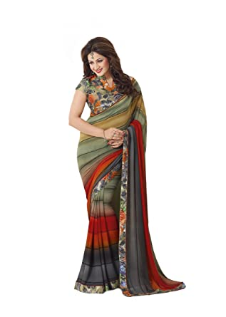 c92d05a9d8 Palav Fashion Georgette Saree with Blouse Piece (palav_Multicolor_Free Size)