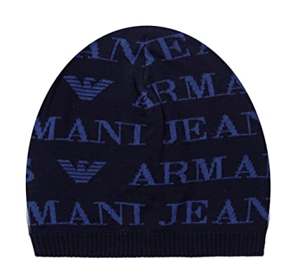 a1a284104 Armani Jeans Unisex Navy Blue Wool Blend Beanie Hat: Amazon.co.uk ...