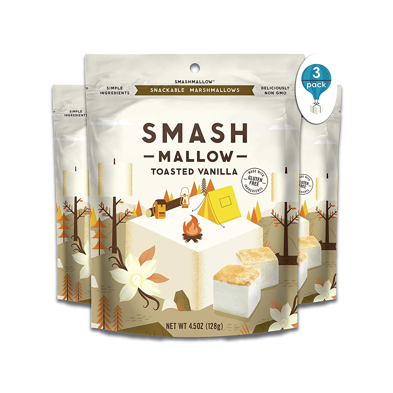 Toasted Vanilla by SMASHMALLOW | Snackable Marshmallows | Gluten Free | Non-GMO | Organic Cane Sugar | 100 Calories | Pack Of 3 (4.5 oz)