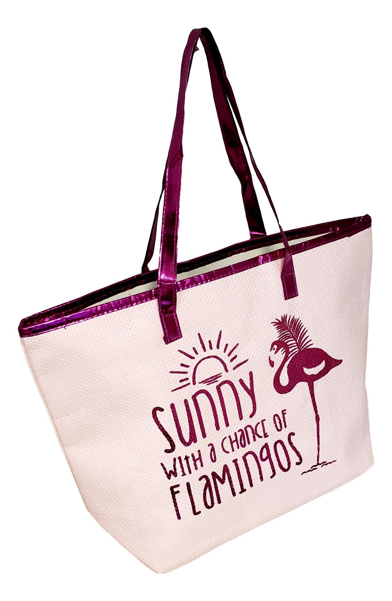 Metallic Trim Large Zipper Top Summer Themed Beach Bag Tote (Sunny Flamingo -Lt Pink Fuchsia)