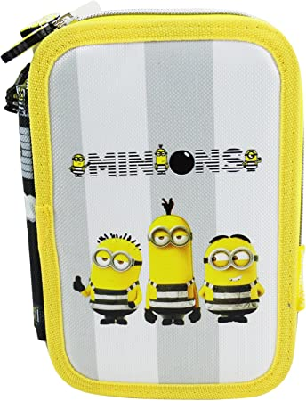 Minions Jail 3 Estuche Escolar Làpices de colores Plumier triple: Amazon.es: Equipaje