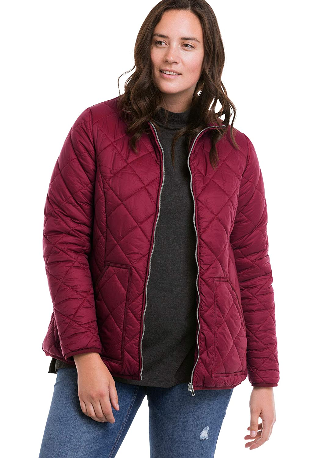 Ellos Womens Plus Size Quilted Zip Front Jacket